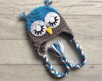 Boys Sleepy Owl Crochet Hat, Winter Hat, Earflap Hat, Wool Hat, Newborn, Baby, Toddler, Child, Photo Prop, Baby Shower Gift, MADE TO ORDER