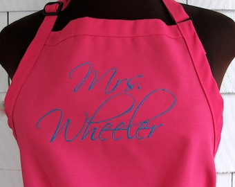 Personalized Apron with Bride's New Last Name - Mongrammed Apron - Bridal Shower Gift - PINK APRON