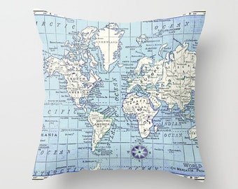 Really Nice Map Pillow - world map, travel decor, blue and white, wanderlust,  Vintage Maps, unique, colorful