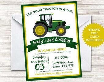 Green Tractor Invitation Invite 5x7 Digital Personalized Kids Birthday Party Farmer Farm