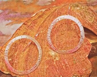 Burst Pattern Pure Silver Hoop Earrings