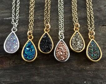 Druzy Necklace, Drusy Necklace, Druzy Drop Necklace, Rose Gold Druzy Necklace, Titanium Druzy Quartz, Druzy Jewelry