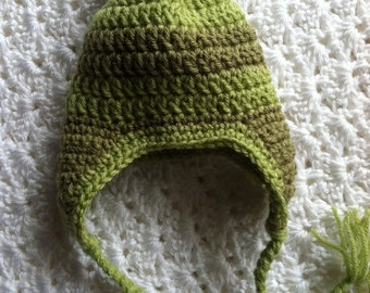 Crochet Hat with Earflaps, Green Stripe Hat, Crochet Hat with Pompon, New Baby Hat, Newborn Hat, Stripe Baby Hat, Hat with Earflaps