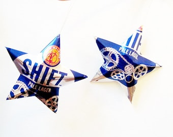 Shift Pale Lager Beer Stars, old style can, Christmas Ornaments Aluminum Can Upcycled