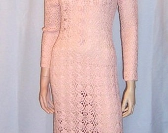 1960's Original Crocheted Pale Pink, Floor Length Gown