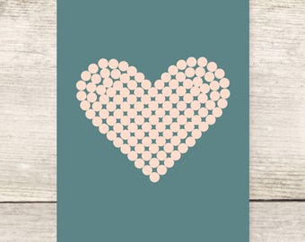 Polka Dotted Heart Blank Greeting Card, Love Card, Anniversary Card, Valentine's Day