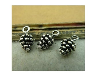 12 Mini PINECONE Charms Pine Cone Jewelry Natural Stages Small Silver Tone Winter Charm  Little Pendants Jewelry Design 13x6mm
