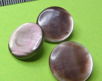 1.3 cm Brown grey mother-of-Pearl buttons (3) - #4121_13