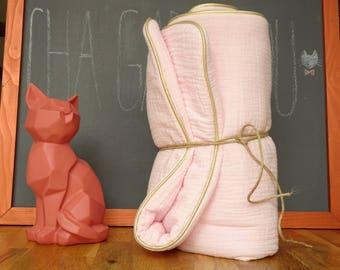 Double cotton gauze baby blanket pink