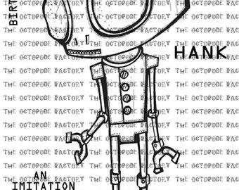 INSTANT DOWNLOAD Robot Hank digital stamp image