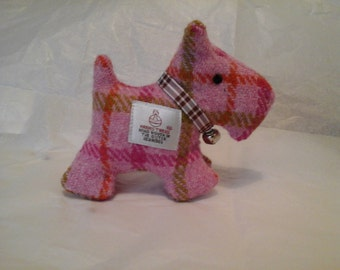 Harris Tweed Pink Check Scotty Dog