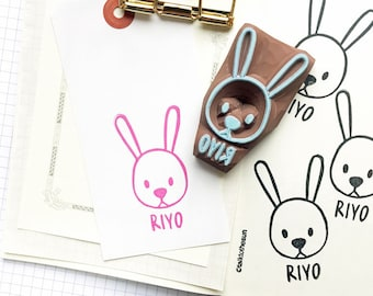 custom name stamp | personalized rabbit rubber stamp | diy baby shower | craft gift for kids | hand carved stamp by talktothesun