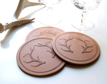 Leather Antler Coasters - Set of 4 leather coasters with modern antlers - rustic chic, cottage, home