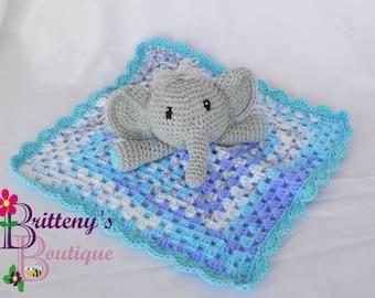 Baby Lovey Crochet Baby Lovey Crochet Plush Gray Elephant Baby Boy Blue Security Blanket Snuggle Blanket Baby Shower Gift 18 inch Blanket