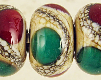 Lampwork Glass Beads Handmade Cream with Red and Green SRA Small 11x7mm Christmas