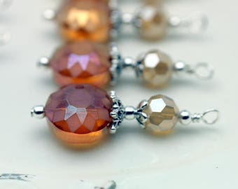 Orange Cushion Cut Sun Etched Crystal Coin with Golden Crystal Bead Earring Dangle Charm Pendant Drop Set