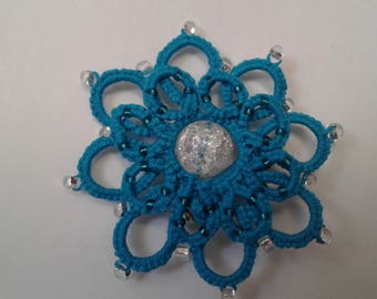 Teal Aqua tatted lace flower pin brooch beaded
