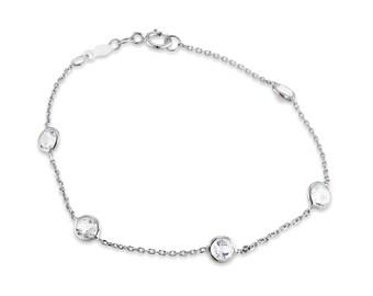 Diamond by the Yard bracelet, topaz bracelet, bezel bracelet, Diamond Station bracelet, Gold Diamond bracelet, Diamond bracelet