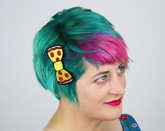 Pepperoni Pizza Bow Hair Clip, Fast Food- Black FRiday Cyber Monday