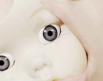 Some Things You Cannot Hide - FREE SHIPPING Surreal Photo Print Creepy Cute Art Broken Doll Face Cream Pale Blue Eyes Mouth Lips Wall Decor