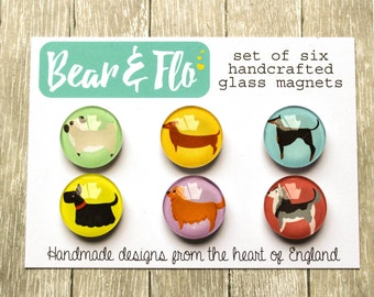 Cute Dogs Magnets ~ Set of Six ~Glass Magnets ~ Fridge Magnets ~ Refrigerator Magnets ~ Decorative Magnets ~ Gifts ~ Office ~ Facebook ~ #1