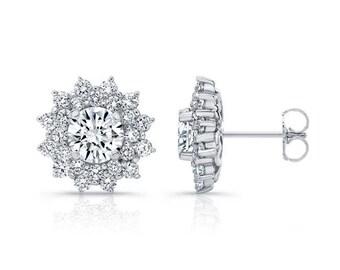 0.50ctw Double Halo Diamond Studs, 14K, 18K, Platinum, Diamond Earrings, Diamond Stud Earrings, Gold Earrings, Barkevs