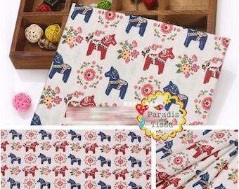 1 x coupon 50x145cm horse print pattern pure linen fabric