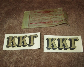 2--Vintage--Kappa Kappa Gamma--DECALS--Decalcomania--Transfers--Sorority--Fraternity--Potter Manufacturing