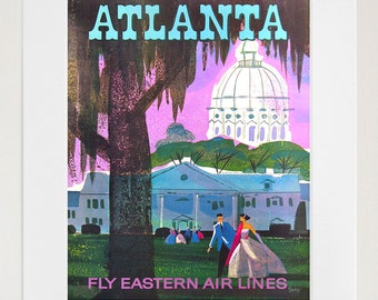 Travel Art Atlanta Print Poster Georgia Vintage Home Decor (XR87)