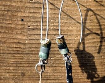 Turquoise earrings Silver Earrings, Silver Jewelry, Sterling Silver, Silver earrings,  Long earrings, Modern, Green Earrings,