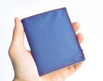Mens Bifold Wallet. Navy Wallet. Vegan Wallet. Slim Wallet. Thin Wallet. Minimalist. Upcycled Wallet.