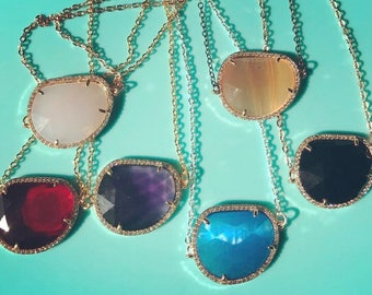 Cat Eye Stone Pendant - Choose Your Color and Metal