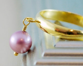 Swarovski Pearl Ring, Gold Plated Brass, Powder Rose Mauve, Adjustable Size, Wire Wrapped Simple Jewelry