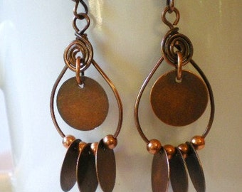 Copper Hoops Earrings Dangly Cha Cha Earrings with Copper Beads, Copper Discs and Copper Spirals