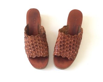 Women's Brown Leather Wedge Sandals - Size 8