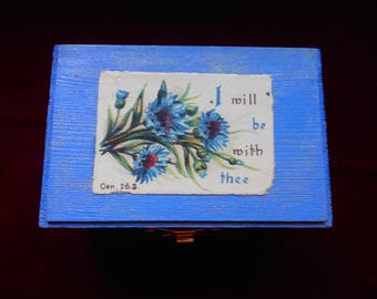 Wooden box with vintage card Bible verse
