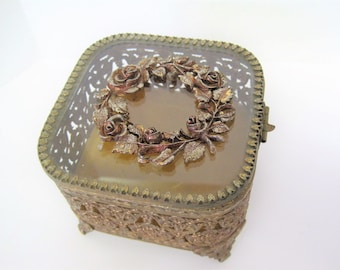 Gold Ormolu Jewelry Box, Square Shaped, Beveled Glass Display