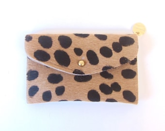 Leopard Leather Wallet - Black and Tan Hair on Hide Wallet - Black and Tan Spotted Pony Hair Wallet - Leopard Clutch