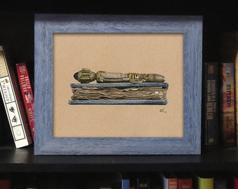 """FRAMED """"Spoilers"""" Print, River Song Sonic Screwdriver Illustration, Doctor Who Art, Doctor Who Decor, Doctor Who Gift"""