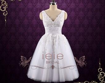 Retro Tea Length Lace Wedding Dress with Floral Lace   Teresa
