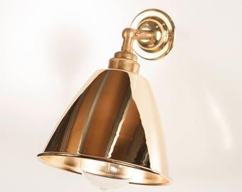 Herbert Polished Brass Shade Wall Light