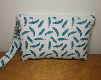 Teal Feather Wristlet Wallet, Phone Wristlet, Wristlet Purse, Gift for Her