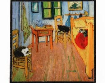 Cat Magnets, Vincent Van Gogh, Cat Artwork, Refrigerator Magnet, Fridge Magnets, Kitchen Magnets, Funny Magnets, Deborah Julian