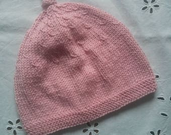 Hat pink cotton for a size 3 months