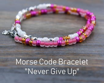 Inspirational and Motivational Morse Code Bracelet for women, Personalized gift for her, Secret message jewelry