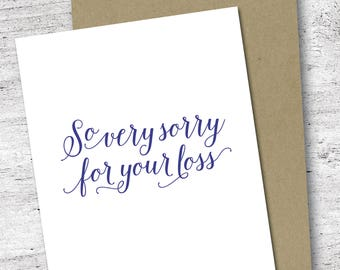 So Very Sorry for Your Loss Card | Sympathy Card | Thinking of You Card | Loss and Grief