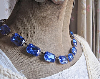 sapphire statement necklace, collet, Anna Wintour necklace, art deco necklace, blue statement necklace, Sacred Cake, sapphire necklace.
