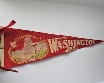 Vintage Pennant Washington DC 1950's The Capitol Red Felt Pennant