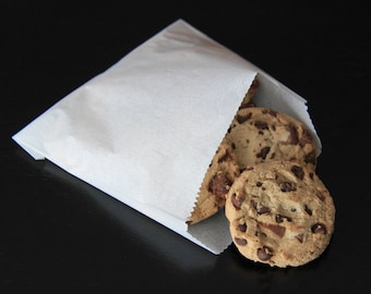 """5"""" x 4-1/2"""" White Paper Cookie Bags - 50 Quantity"""