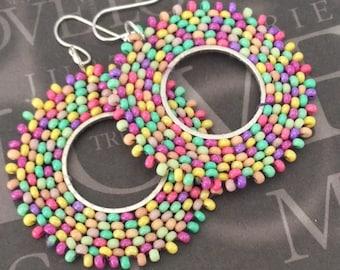 Hoop Earrings Pastel Meadow Beaded Multicolored Earrings Bright Seed Bead Earrings